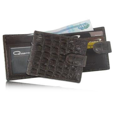 Мужской кошелек из кожи крокодила с хлястиком