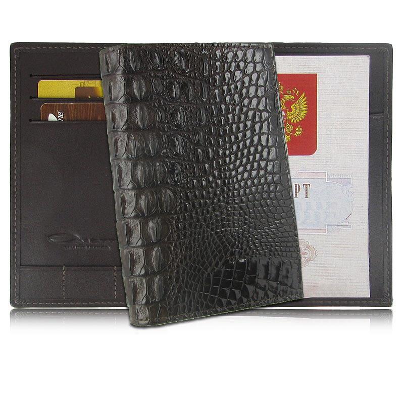 Обложка для паспорта из кожи крокодила