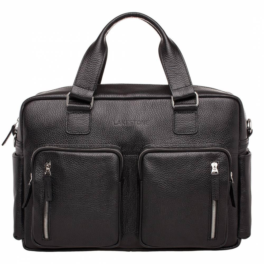 Деловая сумка большого объема Kingston Black мужская кожаная черная