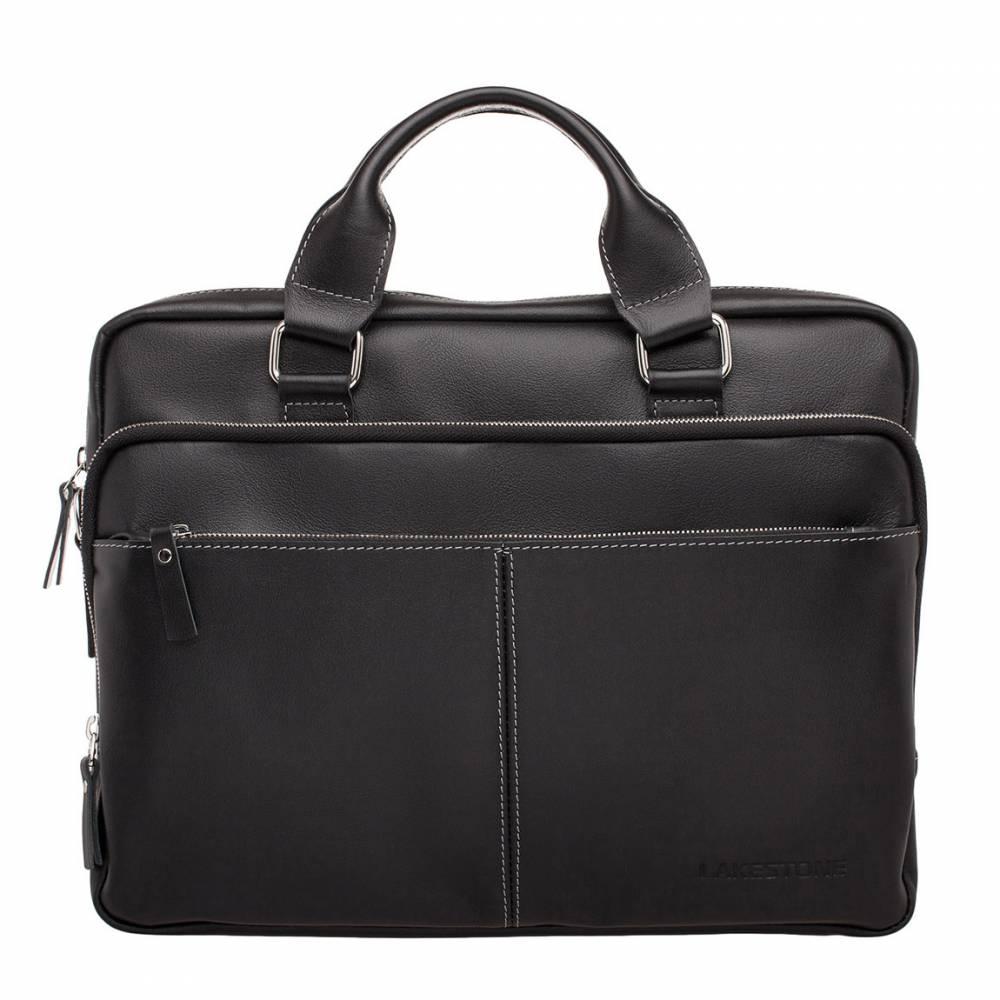 Деловая сумка Glenroy Black мужская кожаная черная