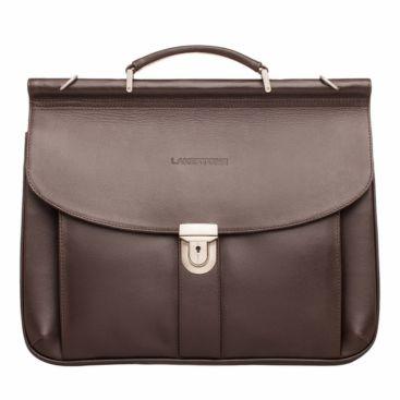 Портфель на саквояжной планке Hammond Brown мужской кожаный коричневый