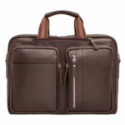 Деловая сумка Edmund Brown мужская кожаная коричневая