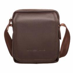 Небольшая кожаная сумка через плечо Parker Brown мужская кожаная коричневая