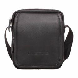Небольшая кожаная сумка через плечо Parker Black мужская кожаная черная